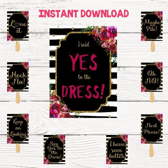 Say yes to the dress signs, I said yes to the dress paddles, wedding dress shopping hot pink glitter – Products