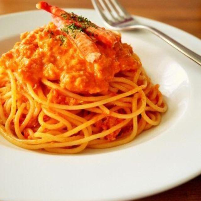 蟹のトマトクリームパスタ♪カニ缶詰で簡単絶品レシピ