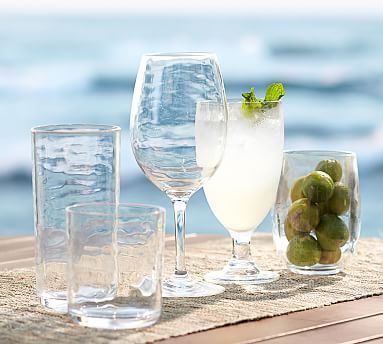 PB Classic Outdoor Drinkware, Set of 6 - Goblets, wine glasses and large tumblers.