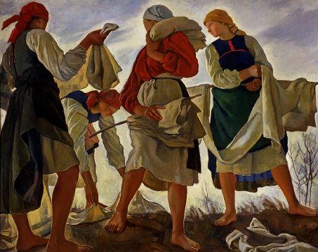Blanqueando la tela (1917) Zinaída Yevguénievna Serebriakova (Зинаи́да Евге́ньевна Серебряко́ва. Unión Soviética. Rusia, 1884-1967)