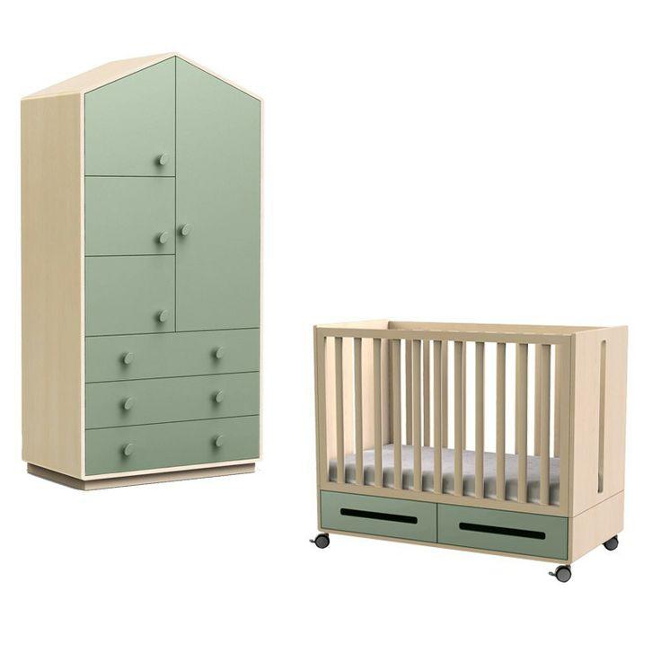Chambre Bebe Avec Lit Kaila Et Armoire Forme Maison Vert Celadon