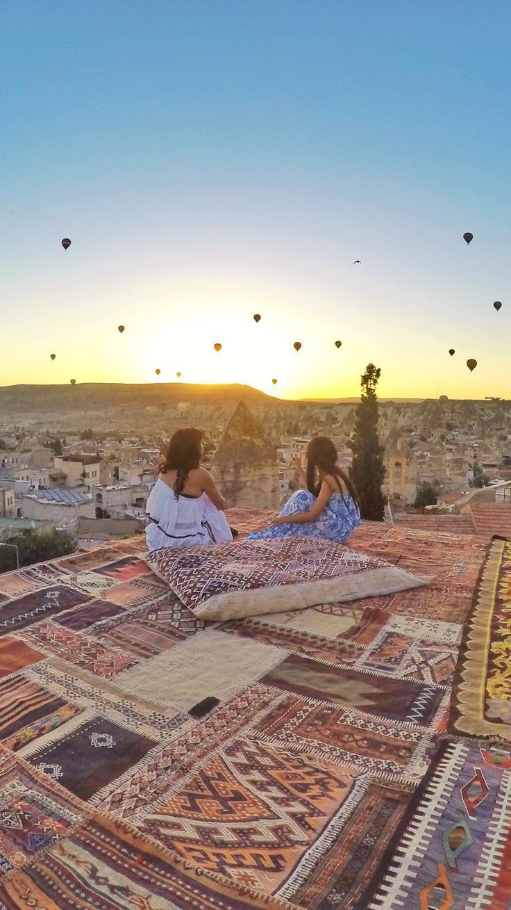 Stunning sunrise in Göreme, Cappadocia [ Turkey ]. This is the most magical place on earth - there are caves, underground cities, hot air balloons and fairy chimneys. This place looks like Planet Tatooine from Star wars. Location: Sultan cave suites, Göreme, Cappadocia, Turkey.