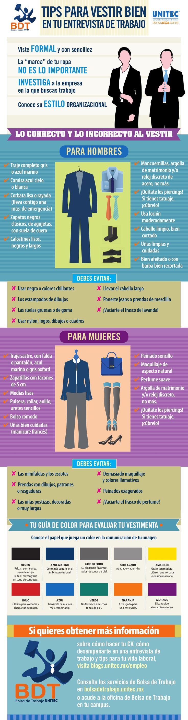 Elegir cómo vestir en una entrevista de trabajo puede ser clave para poder superar con éxito el proceso de selección. Sigue los consejos de esta infografía para acertar con tu forma de vestir y superar con éxito la entrevista.