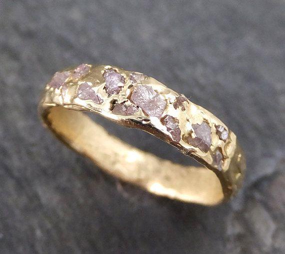 Raw Rough Uncut Pink Diamond Wedding Band 14k Gold by byAngeline
