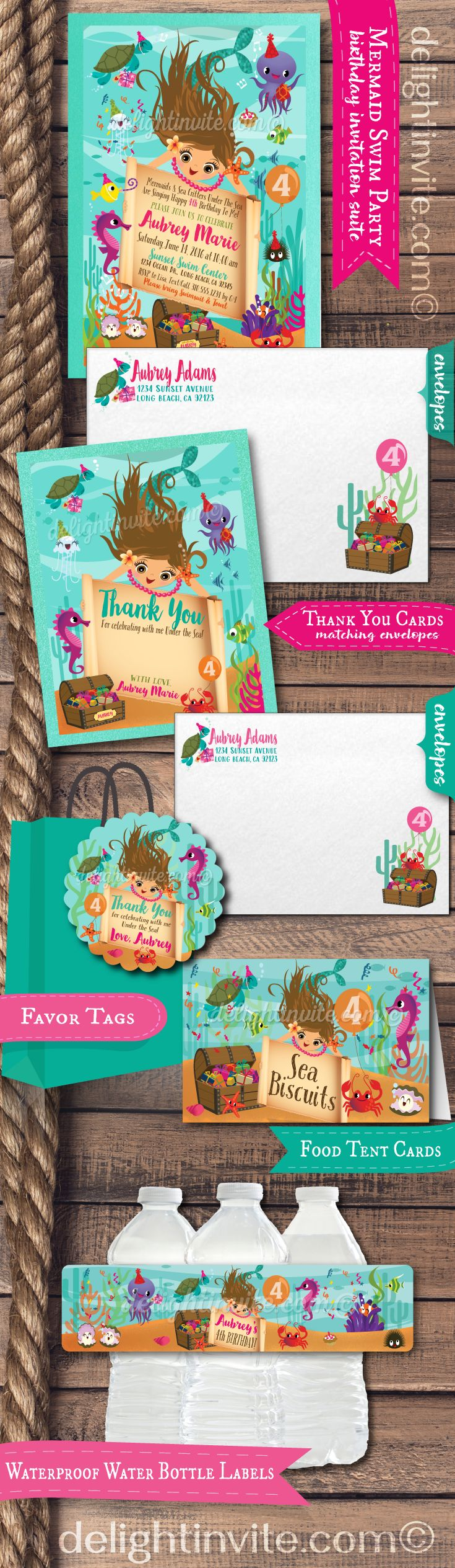 """This darling """"Under the Sea"""" Mermaid theme party set is perfect for your Mermaid inspired swim party! This is also a great idea for a birthday party at an aquarium. Expertly printed on metallic shimmer paper and artfully hand mounted on gorgeous sparkly aqua blue card stock, this mermaid party set is stunning in person! Truly unique and a must have for a mermaid theme party."""