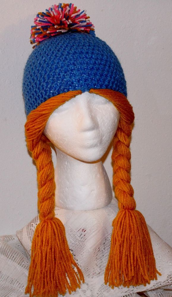 Hand Crochet Yarn Braids Pigtail BEANIE Teen Adult Hat Wig Cancer Chemo Patients