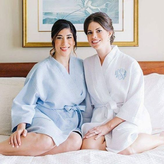 Monogrammed Kimono Waffle Robe Set  Bride by SEmbroideredBoutique