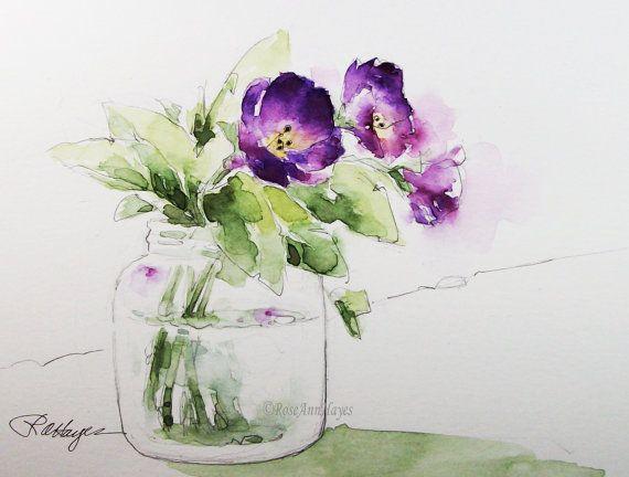 Lila Blumen Glas Jar Wasserfarbe Malerei Druck Floral Bouquet Garten Botanical