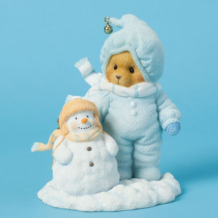 Cherished Teddies Collection Bear In Snowsuit With Snowman Figurine