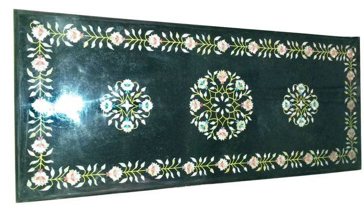 3'x2' Marble Dining Table Top Semi Precious Inlay Thanks Giving Home Decor H933A #AgraHeritageMarbleCrafts #ArtsCraftsMissionStyle #GreenMarble #DiningTable #ThanksGivingDecor #PreciousInlay #FloralArt #TopConsoleTable #OutdoorDecor #BlackFridayDecor #AccentDecor