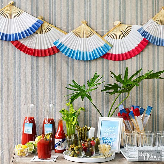 Bust out your red, white, and blue decor for a patriotic party that dazzles. The star attraction? A build-your-own Bloody Mary bar with all the fixin's./