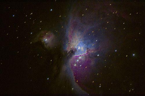 Grande nébuleuse d'Orion depuis Lancié. Défaut de suivi. Décembre 2014