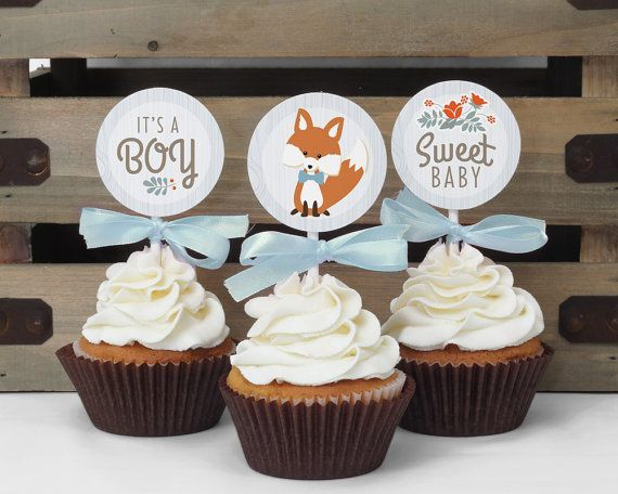 Cupcake Toppers - Woodland Baby Shower // INSTANT DOWNLOAD // Favor Tags // Fox Shower Decor // Blue Baby Boy // Digital Printable BS01
