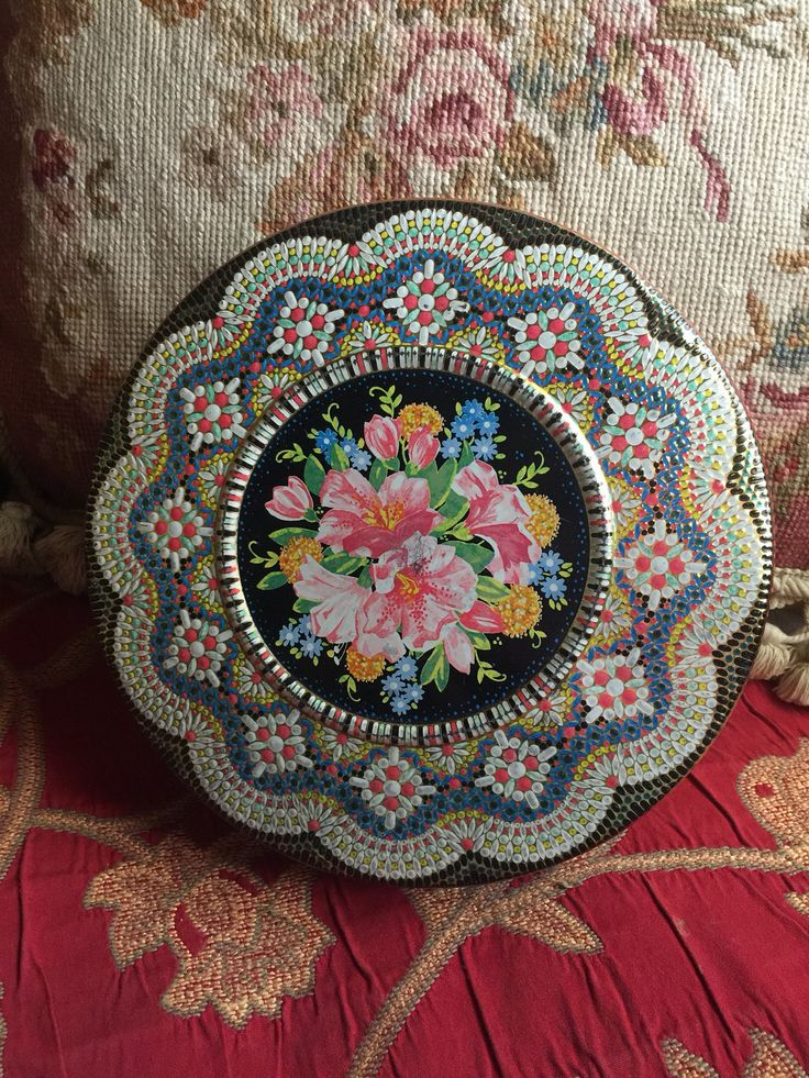 English Country Needlepoint design Daher Round Tin Cover Container by FrenchCountryGirl on Etsy
