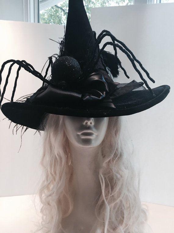 Witch hat- halloween hat- wicked witch- halloween costume- spider Hat- Handmade-black magic.