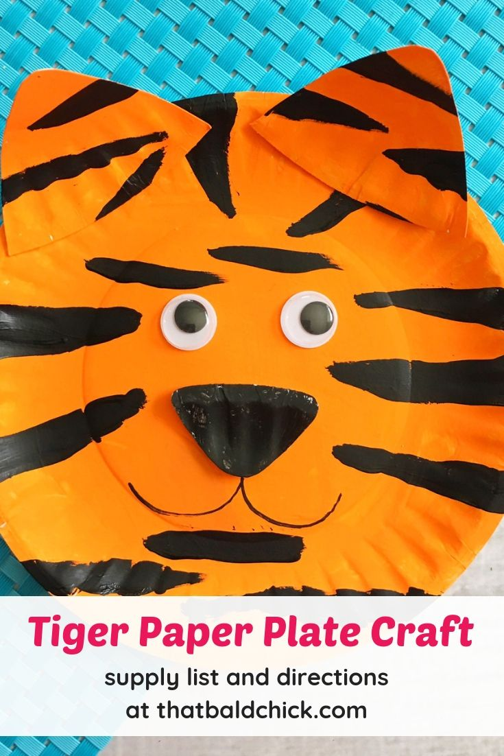 Make this tiger paper plate craft - supply list and