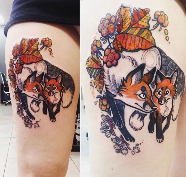 My first tattoo - two foxes, cloudberries and flowers - by Fuki'Ink, guest spot at Flesh Tattoo, Manchester, UK