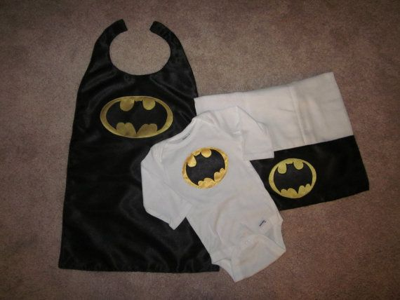 Batman Onesie and Burp Cloth Gift Set with Cape by jenniferajames, $45.00