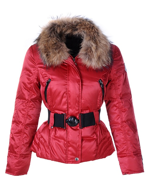 Moncler Popular Down Jackets For Women Decorative Belt Red Sale