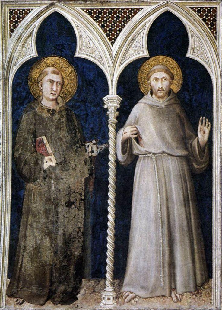 Святой Антоний из Падуи и святой Франциск. 1320-25 Fresco. Капелла ди Сан Мартино, Нижняя церковь, Сан-Francesco, Ассизи.