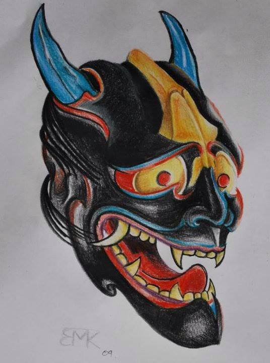 Hanja  Japanese mask  Prismacolor pencil on copy paper