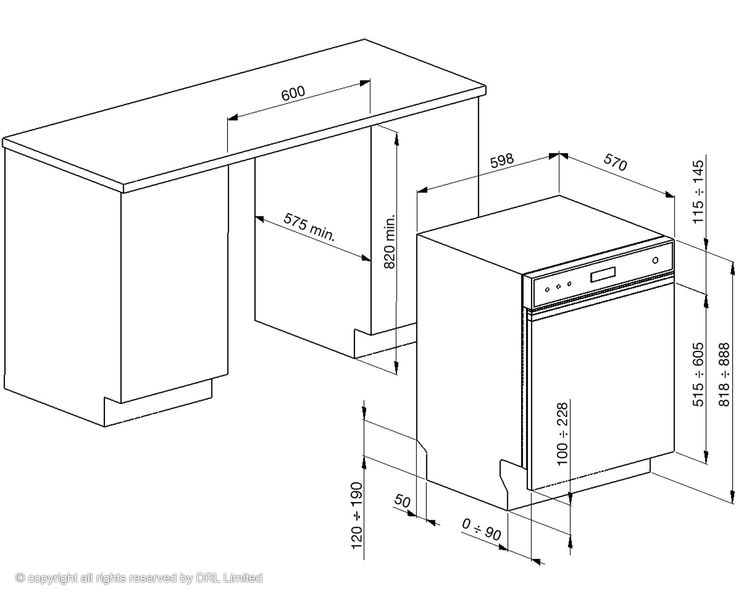 Dimensions for fitting semi-integrated dish washed (Smeg)