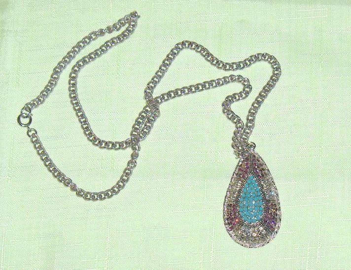 Sarah Coventry Vintage Necklace Large  Pendant Multi-Color Stones  #SarahCoventry #Pendant