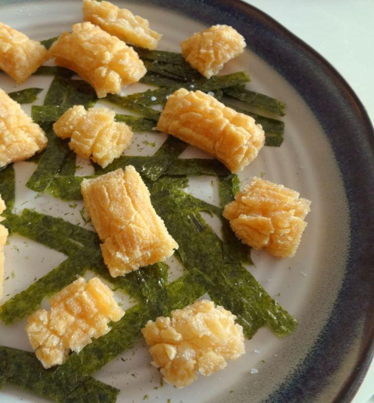 Simple nori okaki. Make your own Japanese rice crackers.