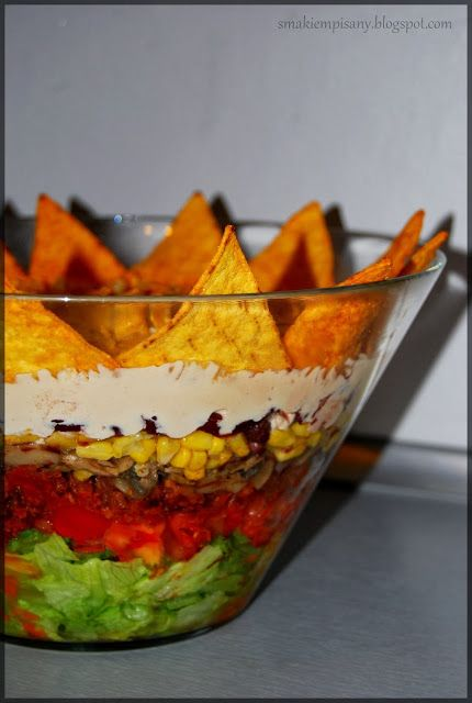 Smakiem Pisany: apetyczny, aromatyczny, kulinarny BLOG!: Meksykański Król Imprezy - Warstwowa sałatka z mięsem i nachos
