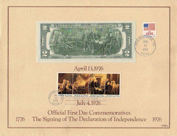 Bélyeg és bankjegy találkozása a Függetlenségi nyilatkozat emlékére