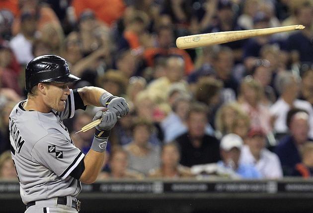 Justin Verlander's triple-digit fastball destroys Gordon Beckham's bat on check-swing