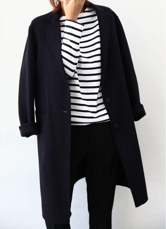 Black & White Stripes, Black trousers, and a black coat
