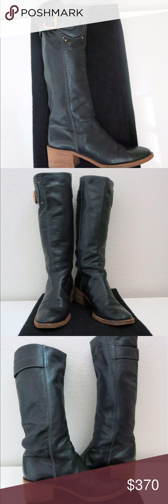 Chloe Soft Leather Knee High Boot Chloe Black Italian Leather Boot Chloe Shoes Heeled Boots