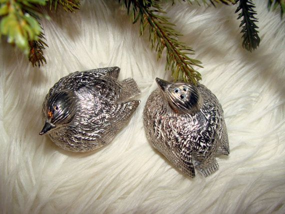 1960's Silver Love Birds Salt and Pepper by AntiqueAlchemists, $15.00