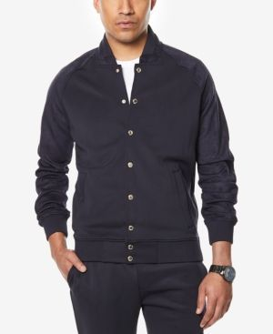 Sean John Men's Big & Tall Neoprene Suede Jacket - Blue 2XLT