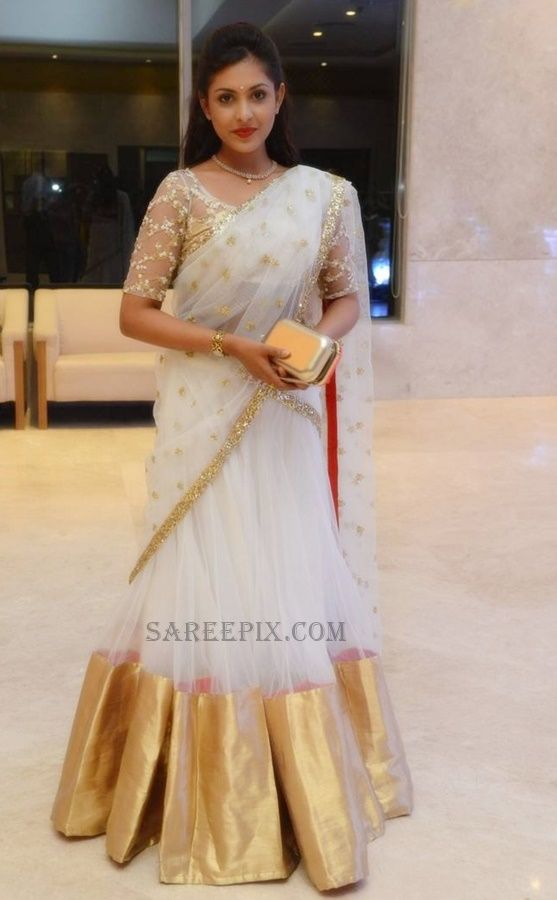 Madhu-Shalini-latest-Half-Saree-Delhi Rajeswari Son Wedding Reception