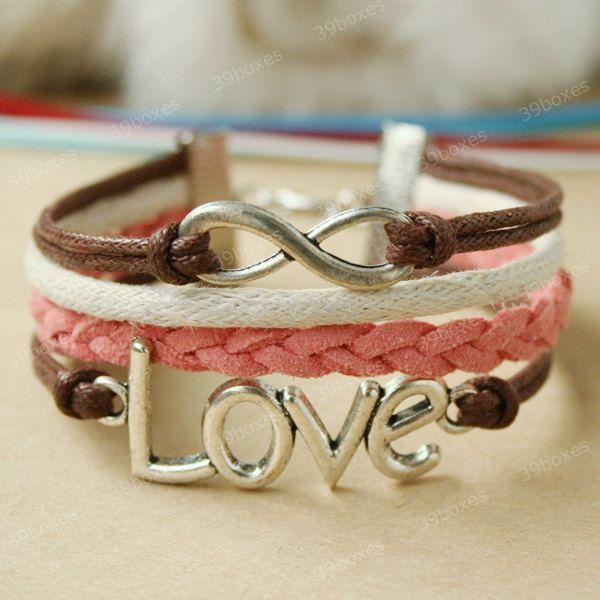 Bracelet - LOVE  bracelet for girls and GF, unique infinity bracelet for Christmas gift.. $7.99, via Etsy.