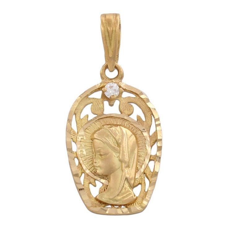Medalla Oro 18 Kl Virgen Niña con circonitas 13 x 21 Mm. : Joyeria online | joyeria plata | joyeria de plata