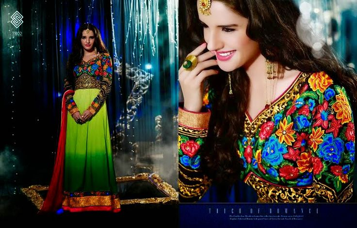 Very Beautifully Designed Georgette Floor length Shaded Green Anarkali with yolk and Superb thread Embroidery and Stone work en-crafted. Comes along with Santoon Bottom and inner and Chiffon Duppatta.