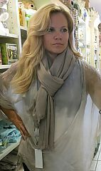 Gorgeous Whisper Cashmere Scarf in Taupe by Fraas at Dream Weaver. www.dreamweavergifts.ca