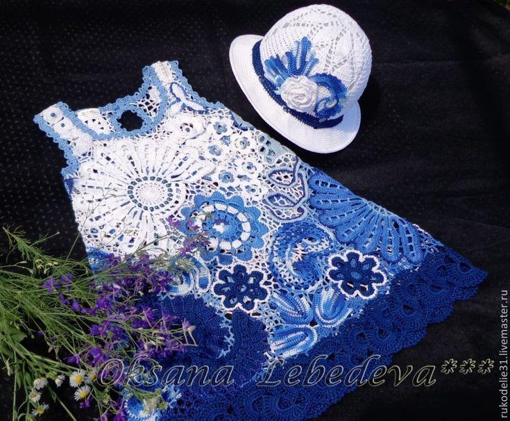 Купить Платье летнее вязаное крючком хлопок девочке Гжель синий белый голубой