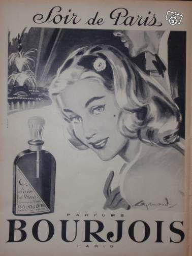 Publicité BOURJOIS Soir de Paris #3 - RAYMOND 1958 #chrisdeparis 3€
