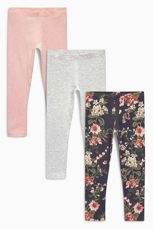 Next Printed/Grey/Pink Leggings Three Pack (3-16yrs)