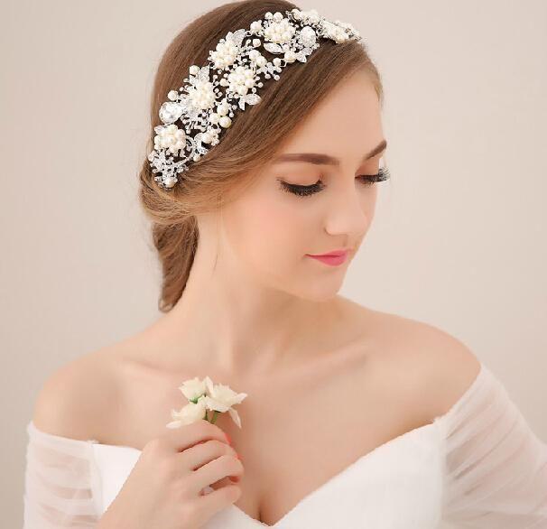 nuziale di cristallo strass perle accessori capelli fiori pezzi pins fascia rilievo principessa tiara dei fornitori dei moniliall'ingrosso