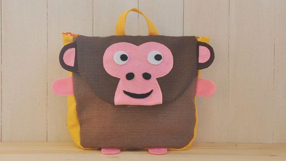 """Backpack """"Jumpy"""" (Beautiful colors for this monkey shape backpack, 100% cotton, adjustable straps, easy velcro closure and lining inside)"""