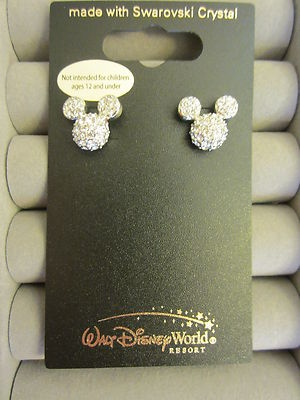 mickey mouse earrings with swarovski crystal
