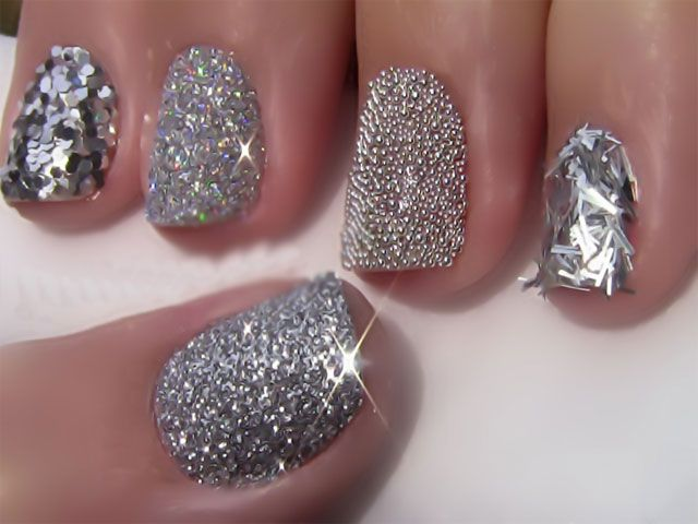 39 Glitter Nail Polish Ideas--Multi-textured silver glitter nails. LOVE this look for something interesting and different!