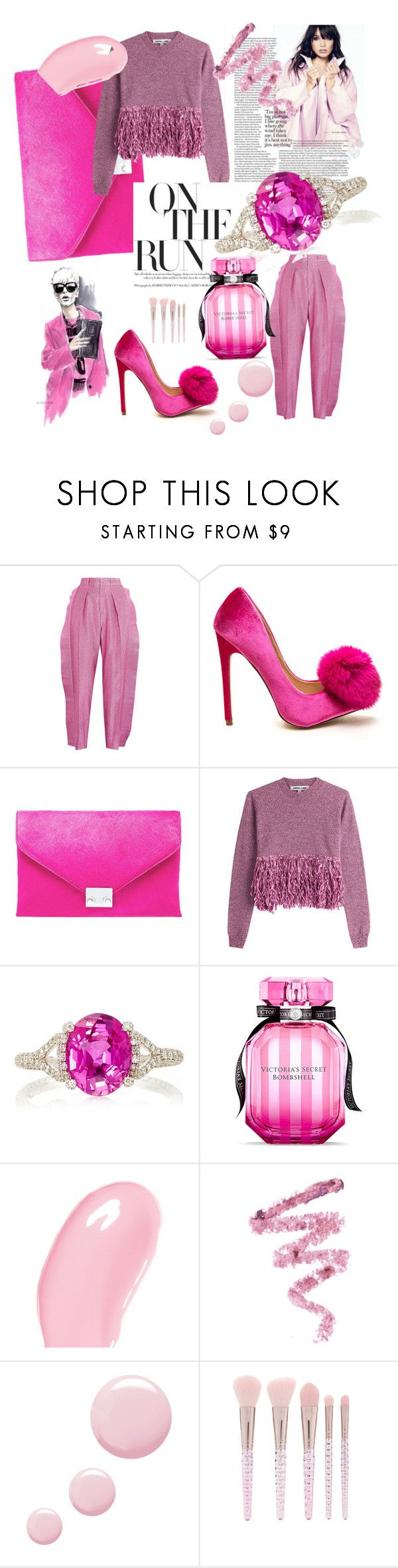 """""""On the pink run"""" by marjana-samus ❤ liked on Polyvore featuring Gucci, Loeffler Randall, McQ by Alexander McQueen, Martin Katz, Victoria's Secret, Christian Dior, Cynthia Rowley, Topshop and Forever 21"""