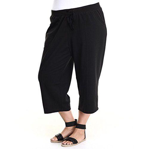 (ファッションラボ) Fashion Lab レディース ボトムス カプリパンツ plus size french terry capri pants 並行輸入品  新品【取り寄せ商品のため、お届けまでに2週間前後かかります。】 カラー:Black 素材:80% Cotton, 20% Polyester