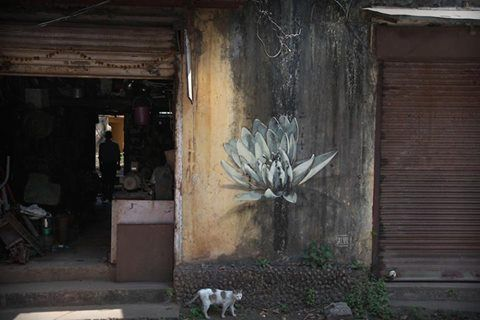 Lotus Blossoms by Faith47 Sprout on the Streets of Goa, India South African street artist Faith47 is attracted to the lotus flower because of its strength. It is a plant that must fight through mud and water before it can blossom on top of its high stalk ..... Colossal | Kate Sierzputowski